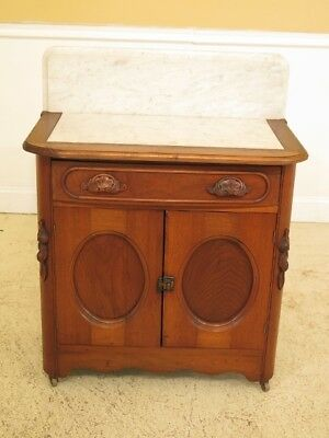 F45452: Victorian Marble Top Walnut 2 Drawer Washstand