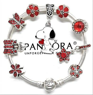 Authentic Pandora Silver Charm Bracelet With Snoopy European Charms...