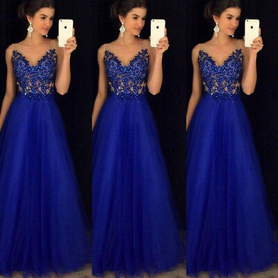 UK STOCK Women's Bridesmaid Prom Ball Gown Evening Party Cocktail Maxi Dress Hot