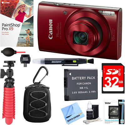 Canon PowerShot ELPH 190 IS Digital Camera (Red)+ 32GB Deluxe Accessory Bundle