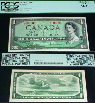 Low Serial Number 20 Bank Of Canada 1954 $1 Pcgs Currency Choice New 63