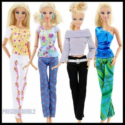 Brand new Barbie doll clothes clothing sets 4 outfits casual top pants clothing.