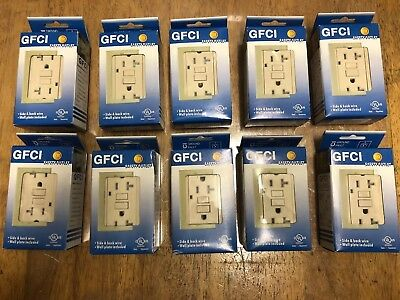 20 Amp GFCI Receptacle Outlet w/ LED & Wallplate UL  - Ivory Gfi 20 Amp (10pcs)