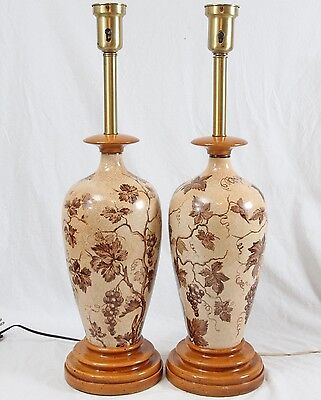 Hand Painted Grape Vine Ceramic Table Lamps Pair Vintage Wood Old World Tuscan