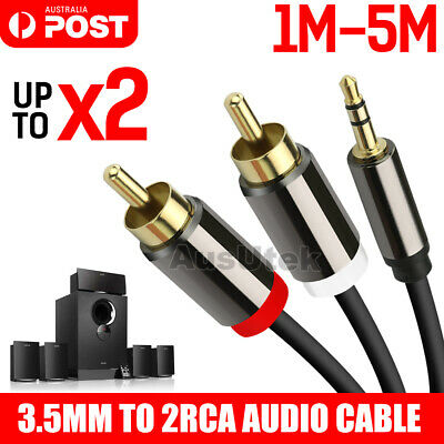 3.5mm Stereo Jack to 2x RCA Plugs Male to Male Aux Audio Cable Adapter