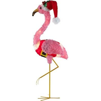 Holiday Time Light-up Fluffy Christmas Flamingo Home Outdoor Yard Decor 35  in - FLYING PIG YARD Décor €� Light Up Piggy Christmas Decoration Holiday