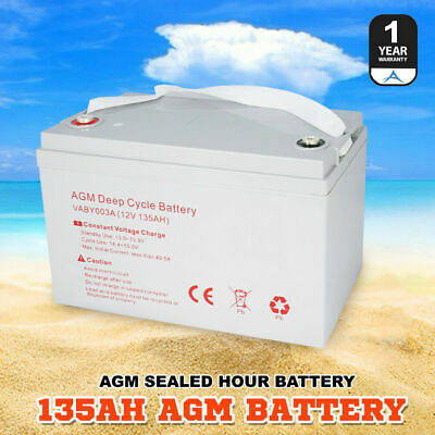 AGM Deep Cycle Battery  135AH Deep Cycle Batteries Dual Fridge Solar Power 12V
