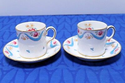 Lot of 2 Royal Chelsea Demitasse Flat Cups and Saucers 3421A Blue swag Pink rose