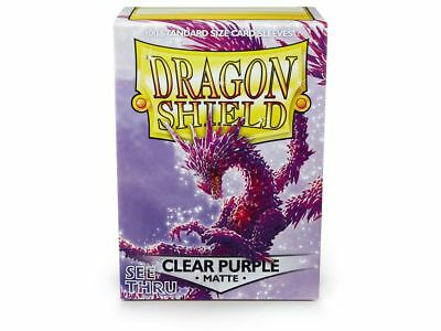 Dragon Shield Mat Clear Purple 100 Protective Sleeves Standard Card Sleeves