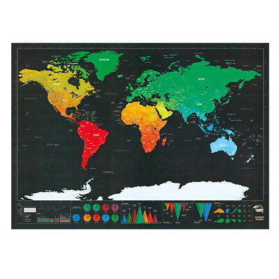 Deluxe Small Scratch Off World Map Personalized Travel FREE EXPRESS DELIVERY