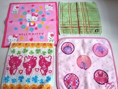 LOT de 4 MOUCHOIR en coton HANDKERCHIEF Laura Ashley Hello Kitty Renown