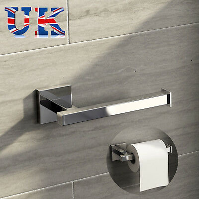 Square Bathroom Bar Toilet Roll Holder High Shine Polished Chrome Finish