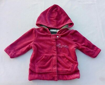 Run Scotty Run Girls Jumper Jacket Size 00 Pink Velveteen Lined Hooded