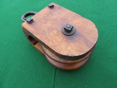 Antique STARLINE Wood Pulley Early Square Nut & Bolts Nice!