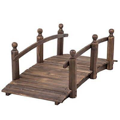 BestMassage Garden Wooden Bridge Outdoor Patio Pond Arch Walkway Path Structure