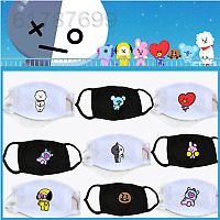 0A9E Cotton Unisex Cartoon Mask BTS Mask BT21 Motorcycle Face Masks Tata Heart