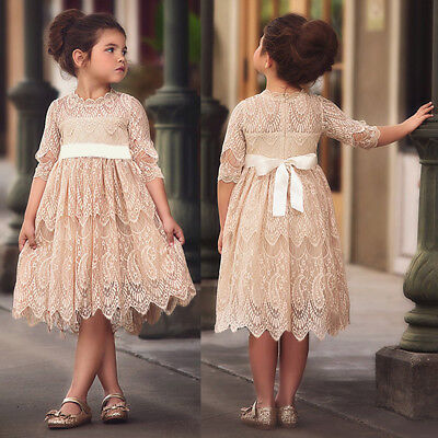 Vintage Rustic Flower Girl Birthday Party Wedding Lace Dress Ball Gown for Kids