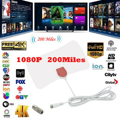 HDTV 1080p 200 Mile Range Antenna TV Digital HD Skywire 4K Antena Digital Indoor