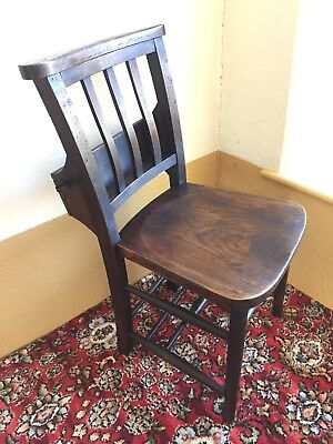 Original Antique Chapel Chair Solid Elm Seat Beech Frame With Top Hat &Bible Box