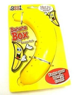 BANANA GUARD w FORK Protector Case Office Lunch Box Storage Holder Fruit School