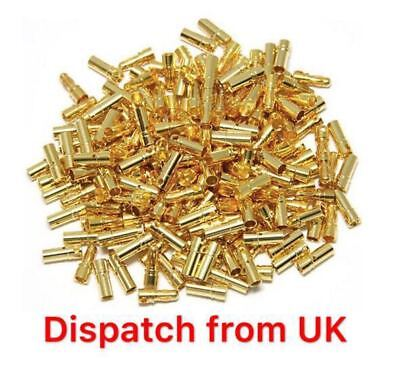 20 Pairs 2mm Gold Plated Bullet Connector / Banana Plugs x20 UK Seller 20x Motor