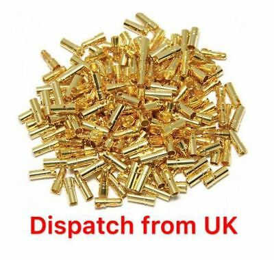 27 Pairs 2mm Gold Plated Bullet Connector / Banana Plugs x20 UK Seller 20x Motor