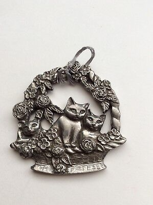Vintage Seagull Pewter  Christmas Ornament, Cats In A Basket Of Flowers