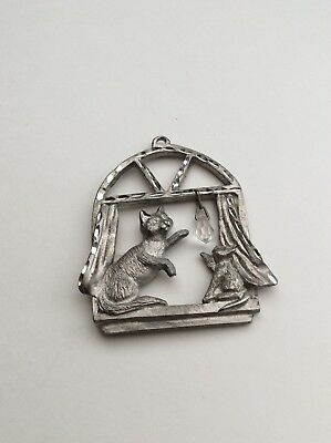 Vintage Spoontiques Pewter  Christmas Ornament, Diamond Cut, Cats In A Window