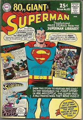 Superman (1939 series) #183 (80 Page Giant #G18) Jan. 1966, DC VG/FN ID #291