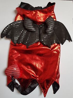 Dog Halloween Devil Fancy Dress Outfit Costume with Tail Wings & Horn Hood XL