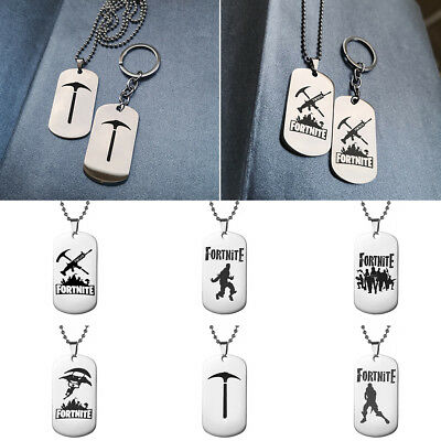 ALS_ FPS Game Fortnite Tag Pendant Necklace Key Ring Holder Keychain Couple Gift