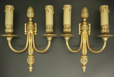 Pair Of Sconces, Louis Xvi Style, Early 1900 - Bronze - French Antique