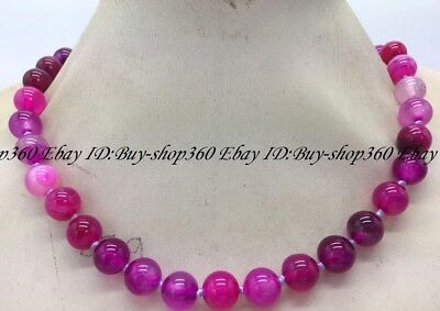 """Natural 8mm Round Rose Red Striped Agate Gemstone Necklace 18""""AAA"""