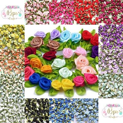 Quality Mini Satin Ribbon Roses With Leaf 25mm Crafts Sewing Card Making