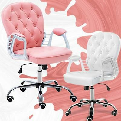 Office Luxury PU Leather Swivel Computer Desk Chair Adjustable Pink Or White