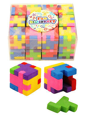 RUBBER CUBE Novelty Puzzle Eraser Party Bag Gift Filler School Stationary Toys