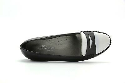 New Womens Trivica Slip On Leather Black White Leather Penny Loafer Shoes 349