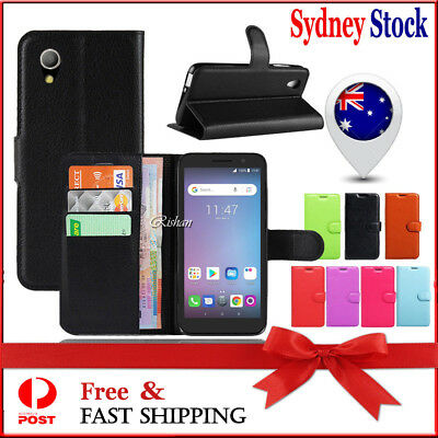 Wallet Card Slots Premium Leather Flip PU Case Cover For Telstra Essential Plus