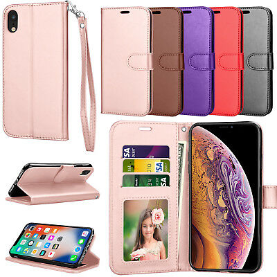For iPhone XR/XS Max Wallet PU Leather Folio Flip Stand Strap Card Case Cover
