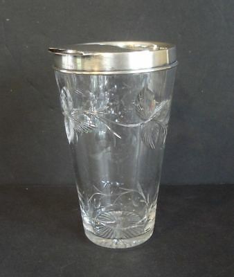 Vintage~ Cut Crystal & Sterling Silver Cocktail Shaker / Mixer