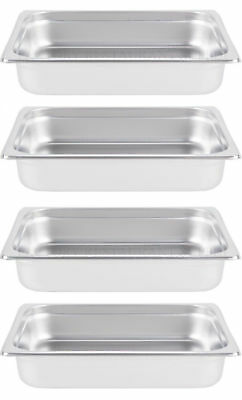 "INSERTS ONLY 4 PACK 2 1/2"" Deep Stainless Steel Chafing Dish Chafer Pan Half Pan"