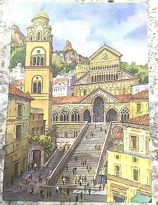 PostCard Of Italy-4,1/2x6,3/4inch-Amalfi-printed On Pounded Paper.-MadeInItaly