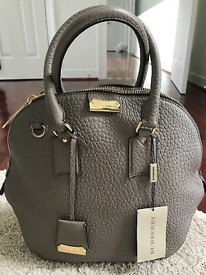 26dcdab7905c Authentic Burberry Orchard Heritage Grained Medium Grey Leather Satchel Bag