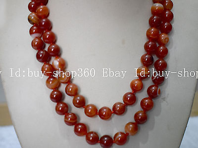 Natural New 10Mm Red Striped Agate Gemstone Round Necklace 35''