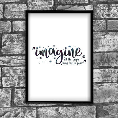 Imagine Motivational Inspirational Positive Thoughts Quote Poster Print Wall 83