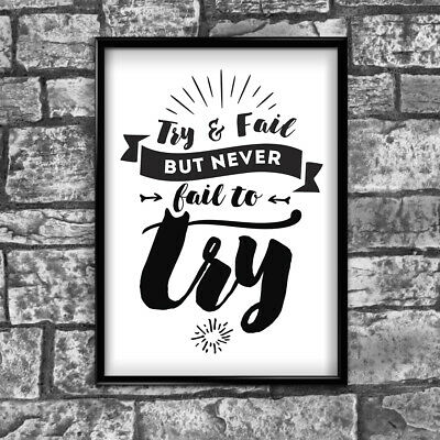 Motivational Inspirational Positive Thoughts Quote Fail Poster Print Wall 105