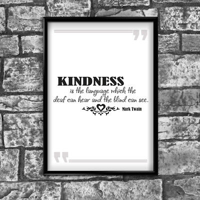 Motivational Inspirational Positive Quote Kindness Poster Print Wall 238