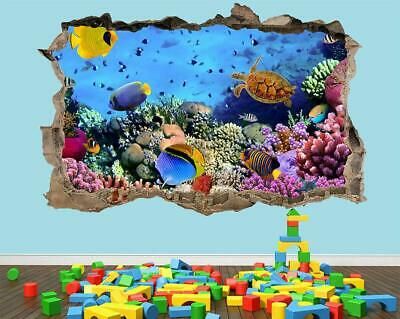 Tropical Fish Wall Sticker 3D Look - Ocean Dolphin Porthole Beach Bedroom