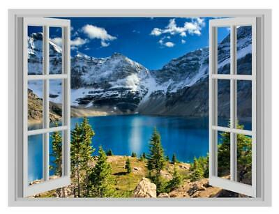 Mountains Forest Fog Lakes Scene Window Poster 3D Wall Sticker Vinyl Decal Mural