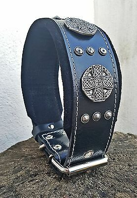"Bestia ""Maximus"" leather dog collar. Large breeds only. 2.5 `` wide"